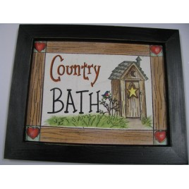 CAN2 - Country Bath on canvas black wood framed