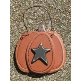 F1570S - Pumpkin wstar Wood Ornament