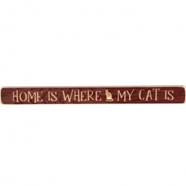GE90322 Home is Where my Cat is engraved wood block