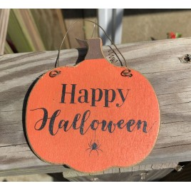 GJHF7063HH - Happy Halloween Wood Pumpkin