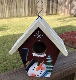 Christmas Decor 90015R-Snowman Wood  Birdhouse