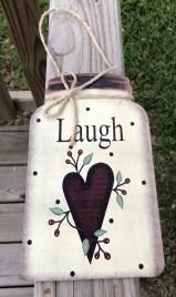 Primitive Decor Laugh w/berries and Heart Mason Jar