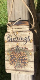 Primitive Wood 206-79098NB Blessings Pine Cones mason Jar