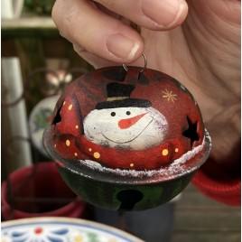 512-79408nb Snowman Top Hat Bell Metal Christmas Ornament