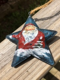 17103 - Blue Star Santa with Red Hat