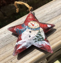 17103 - RED Star Snowman with Blue Scarf
