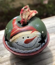 KL85375 Snowman Red Hat Ball Metal Christmas Ornament