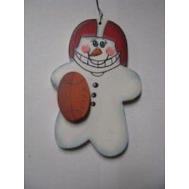 Football Snowman WD1057 Wood Christmas ornament