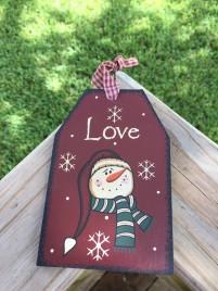 Primitive Wood Gift Tag  206-69483 Love Burgundy Snowman Tag Ornament