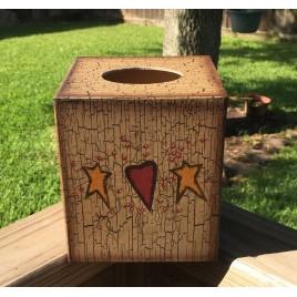Primitive Tissue Box Cover Paper MAche' 3TB021-Star/Heart
