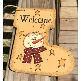 Primitive Wood 2388 Welcome Snowman Christmas Ornament