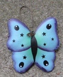 or322- Blue Butterfly Metal Ornament