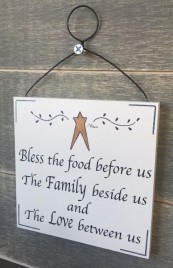 Wood Sign P117 Bless the Food Before Us The family beside us and The love between us Sign