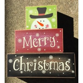 Snowman Merry Christmas 3SMCB -Block set of 3 Wood