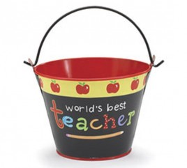 Teacher Gifts 485193 World's Best Teacher Pail Tin