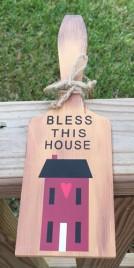 BP206 - Bless This House Salt Box Wood Paddle