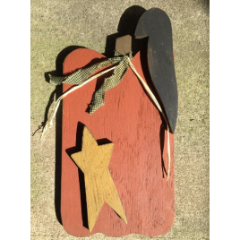 Primitive Wood Pumpkin with Mustard Star, Black Crow and Green Checkered Homespun Ribbon