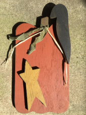 Primitive Wood Pumpkin with Mustard Star, Black Crow and Green Checkered Homespun Ribbon