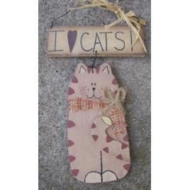 Primitive Hanging Cat CW0389 - I Love Cats