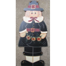 Fall Decor  FWF8304-Pilgrim Girl with Pumpkins