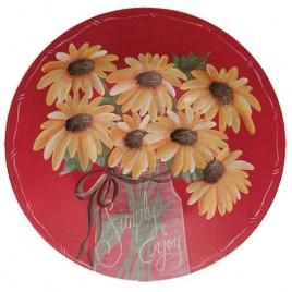 Simple Enjoy Sunflower wood plate