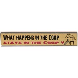 33528WH What Happens in the Coop, Stays in the Coop mini wood block