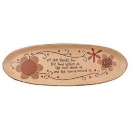 G33616-We Give Thanks Oval wood Plate