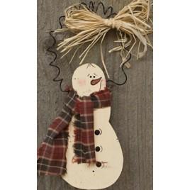 Wood Snowman Ornament D0035CWF - Snowman with Scarf