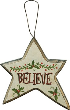 Wood Christmas Ornament X8160C-Believe Star