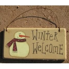 gr115ww - Winter Welcome Snowman wood sign