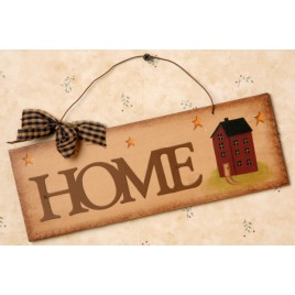 8W1058- Home Metal Wood Sign with Salt Box House