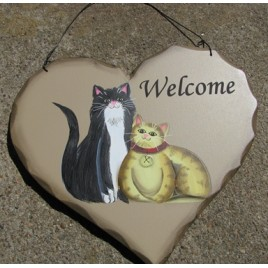 HP10 - Welcome Cats wood heart