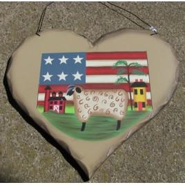 HP23 - Sheep Flag Barn wood heart
