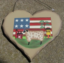 HP23 - Sheep Flag Barn wood heart