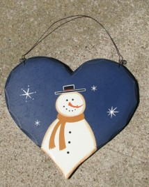 HP28- Blue Snowman with Top Hat wood heart