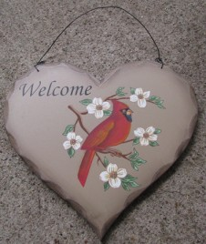 HP4 - Welcome Red Cardinal wood heart