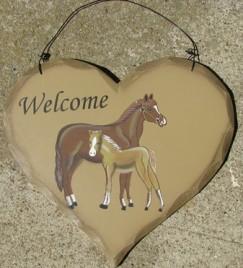 HP6 - Welcome Horses  wood heart