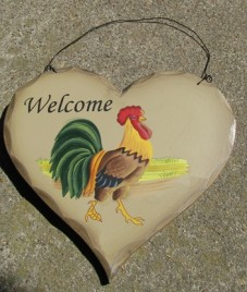 Primitive Wood Rooster Heart HP8-Rooster