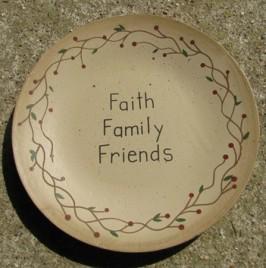NEW-11 Faith Family Friends Wood Plate