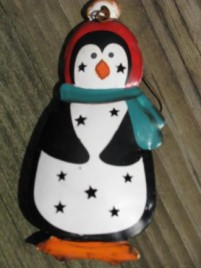 OR306- Penguin tin punched ornament