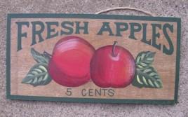 P18 - Fresh Apples 5 cents Wood Plaque