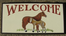 P41 - Welcome Horses Wood Sign