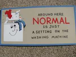 P99-  Around here Normal is just a  Setting on the Washing Machine wood sign
