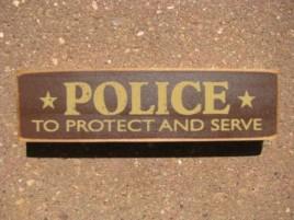 PBW989R Police Protect & Serve Wood Block