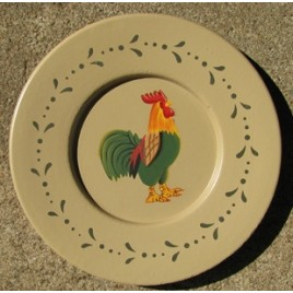 Primitive Wood Rooster Plate