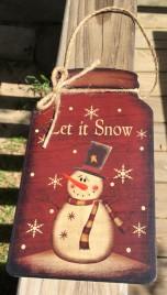 Christmas Decor 2420 Primitive Snowman Mason Jar Sign - Let It Snow