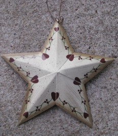 ST513 Metal Star Burgundy Hearts
