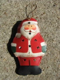 OR-343- Santa 3D metal Christmas ornament