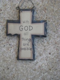 Primitive Wood Mini Cross WD801 - With God  all things are Possible