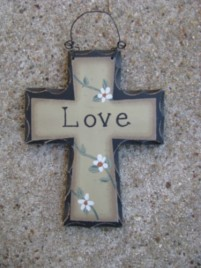 Primitive Wood Mini Cross WD804 - Love Cross